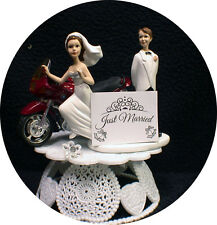 BRIDE Loving RED BMW Motorcycle Wedding Cake Topper Bike Funny Groom Top ONLY 1