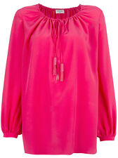 Saint Laurent YSL Paysanne Crepe De Chine Silk Drawstring Blouse Tunic Pink 34