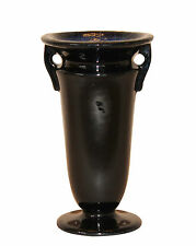 Roseville Art Deco Pottery Rosecraft Mirror Black Midnight Blue Vase 244-6