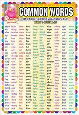 Clé commune laminé / mots de niveau 2 éducatifs pour enfants classe Kids poster