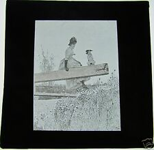 Glass Magic Lantern Slide VICTORIAN LADY WITH DOG ON CANAL LOCK C1900