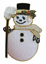 """#4186 3 1/4"""" Snowman Embroidery Iron On Applique Patch"""