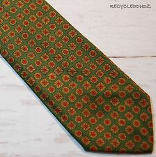 Vtg Brooks Brothers Skinny Necktie Green Brown Medallions Printed in England Tie