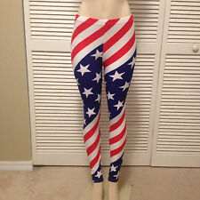 "AMERICAN FLAG SPANDEX LEGGINGS USA STRIPES STARS RED WHITE BLUE ""ONE SIZE"""