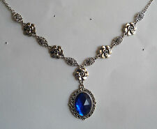 CAMELLIA FILIGREE VICTORIAN STYLE FACETED BLUE ACRYL SILVER PLATED NECKLACE CF