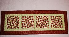 Quilted Table Runner CHRISTMAS/WINTER - Mittens/Stars - Dark Red/Gold  43x15