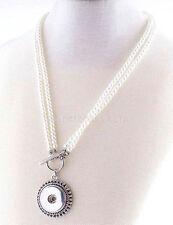 White Pearl 20mm Snap Charm Necklace for Ginger Snaps Interchangeable Jewelry