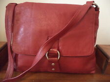 Red textured leather shoulder bag ~ made in India