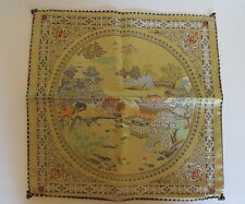Vintage Asian Chinese Embroidered Silk Pillow Cover Double Sided New Old Stock