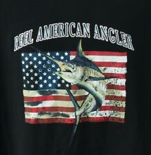 Reel American Angler Mens 2XL TShirt Fishing Marlin American Flag Extra Large