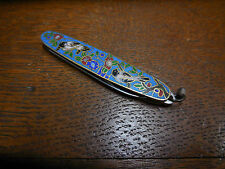 Vtg Antique Japanese Cloisonné Handle Pocket Fruit Knife / Birds & Flowers