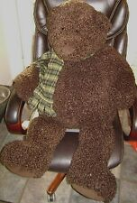 "GUND Heads & Tales Bear Huge 38"" Dark Brown Curly Fur and a Green Plaid Scarf"