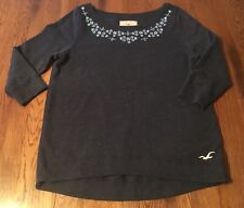 Hollister Blue With Embroidery Sweatshirt Junior's Size M Medium