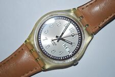 Vintage Swatch Watch GE-700 CROISSANT CHAUD Swiss 2003 Unisex Quartz Leather