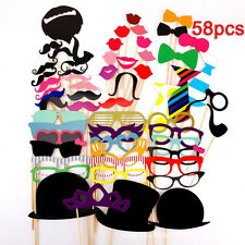 58p Photo Booth Props Wedding Accessory Birthday Party Funny Selfie Moustache
