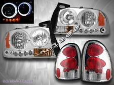DODGE DURANGO 1998-2003 HEADLIGHTS W/ TWO HALO + LED CHROME / TAIL LIGHTS CHROME