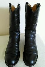 JUSTIN Women's Black leather Western/Roper/Riding boots Size 7 B Made in USA