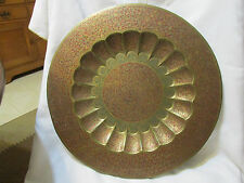 """Vintage 19"""" Red Green BRASS Table Wall Platter Plaque Tray Art Made in India"""