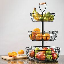 Giftburg 3-Tier Wrought Iron Wire Basket Fruit Food Bath Items Item Holder