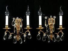 Pair of Vintage French Bronze Sconces with Pendeloque CrystalPrisms, Stamped