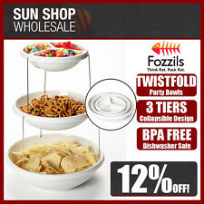 Genuine! Fozzils Twistfold Collapsible 3 Tiers Party Serving Bowls Stand White!