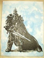 Canvas Painting World Of Warcraft Lich King C Blue B&W Art 16x12 inch Acrylic