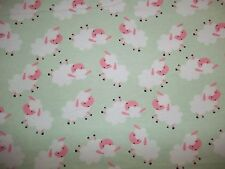 Handmade flannel crib sheet/ Light Green with Sheep/Green, White  Pink/Neutral