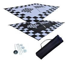Patio Mat RV Awning Mat Finish Line Racing Checkered Flags Reversible Mat 9x12
