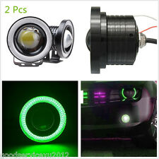 "2 X 2.5"" COB LED Green Angel Eye Automobile DRL Daytime Running Lights Fog Lamps"