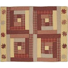 "BRADDOCK Quilted Cotton Patchwork Throw Blanket 50"" x 60"" Log Cabin Block Leaves"