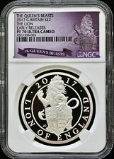 """2017 G Britain Queen's Beast """"The Lion"""" NGC PF70 ER Limited Edition Presentation"""