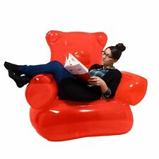 Gummy Bear Inflatable Chair Red with Foot Pump Kids & Adults Playroom & Lounge