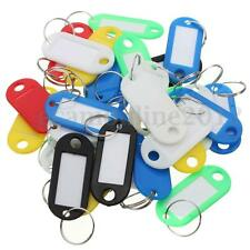 30x Coloured Plastic Key Fob Luggage ID Tag Label Name Card Keyring Hotel Home