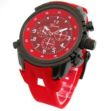 Red Gun Geneva Watch Round Heavy Case Hard Rubber Oversized Sport Men's Wrist