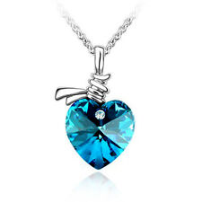 Moonlight Electric Blue Heart Necklace Tie of Love made with Swarovski Elements