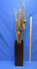 Large Wood Wooden Vase w/ Tall Grass Pods Stocks Centerpiece Mantel Decor Brown
