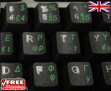 Greek Transparent Keyboard Stickers With Green Letters For Laptop PC Computer