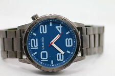 Unlisted by Kenneth Cole UL1260 Watch Mega Stainless Steel GUNMETAL BLUE New Bat