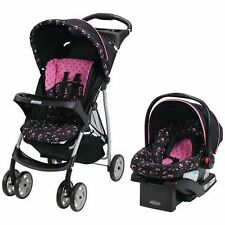 Stroller Travel System Car Seat Baby Pink Pram Buggies Pink Infant Folding Light