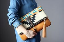 Genuine Leather Southwestern Indian Wool bag clutch cross body HANDMADE