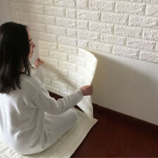 3D Brick Pattern Wallpaper Seft Adhesive Wall Sticker Soft Foam Decor White