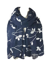 SPECIAL Ladies Embroidered Floral Scarf Wrap Shawl Pashmina-Navy/Wht