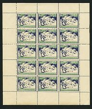 ICELAND 1940 'Girl & Winter Scene' Christmas Seals- Entire Sheet of 15 MNH