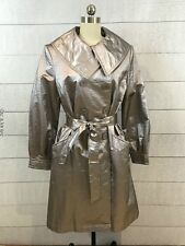 Ellen Tracy Rain Coat Belted Trench Metallic Silver Large Cotton Knee Length