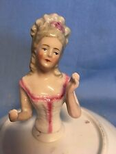 Porcelain Half Doll Arms Away Fine Features Germany 5553 Blonde Pin Cushion Top