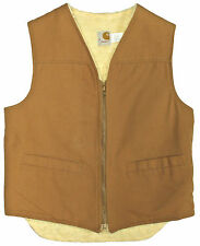 Vtg Mens CARHARTT Work Wear Vest MEDIUM Sandstone Canvas Sherpa Shearling Lined