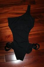 *New Victoria's Secret One Shoulder Monokini Cut Out Black Swimsuit Large $72.50
