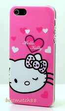 for iphone 5 5s cute hello kitty white hop pink polka bow heart hard back case