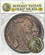 "1913 BUFFALO NICKEL 72 Piece Round Jigsaw Coin Puzzle & 3"" Sticker   #s"