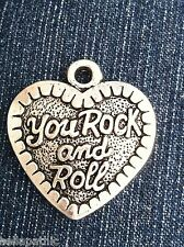 YOu Rock & Roll Charm Antiqued Pendant Bookmark Bracelet Scrapbooking 1-3/8""